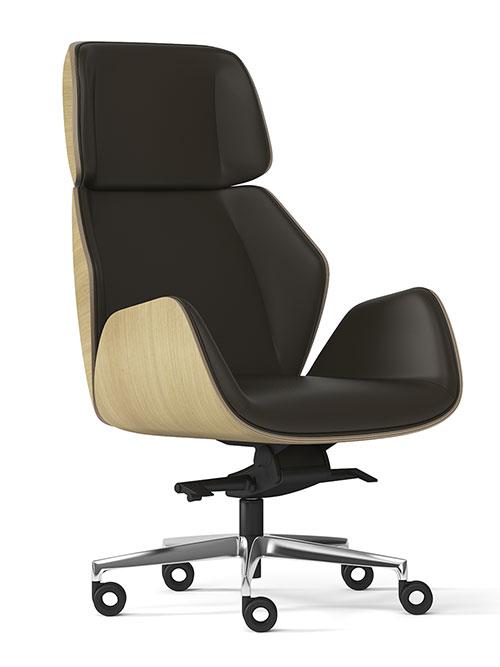 Poltrona direzionale Haiku Wood di Elleci Office, dal design minimal ed elegante, con schienale in legno